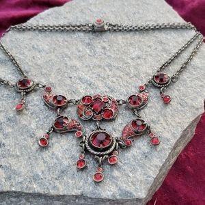 Victorian Red Glass RS Pot Metal Festoon Necklace